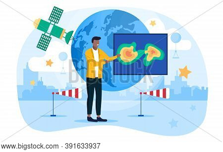 Weather Forecast Concept. A Man Standing In Studio In Front Of Space Meteorological Satellite, World