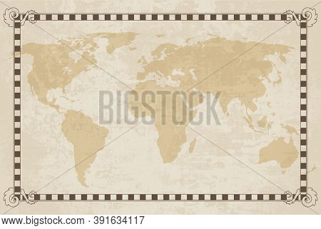 Old World Map. Vector Paper Texture With Border Frame. Vintage Vautical Compass. Retro Design Banner
