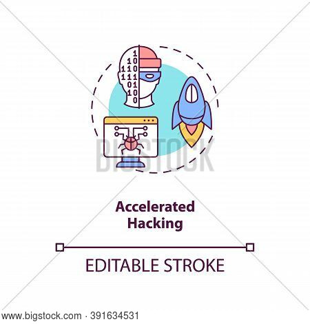 Accelerated Hacking Concept Icon. Stealing Important Information. Cybersecurity Future Problems. Ai