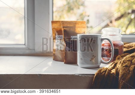 Work-life Balance, Cosy At Home, Relaxing Indoors Concept. Winter Fall Cozy Mood Concept. Still Life
