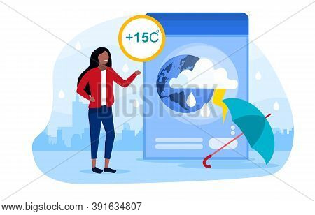 Weather Forecast Concept With A Girl Telling Viewers About The Upcoming Weather. Cool, Rainy, Cloudy