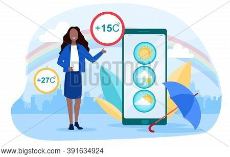 Weather Forecasting And Meteorology Concept With A Young Smiling Girl Telling Viewers About The Upco