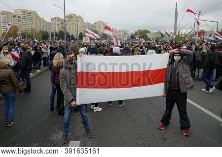 Minsk, Belarus - October 25, 2020. Protesters Took To The Streets Of Minsk With Placards And Flags.
