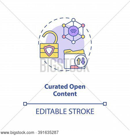 Curated Open Content Concept Icon. Open Source Information. Easy To Reach Data. Ai In Education Idea