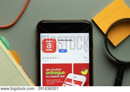 New York, Usa - 26 October 2020: Americanas Mobile App Logo On Phone Screen Close Up, Illustrative E