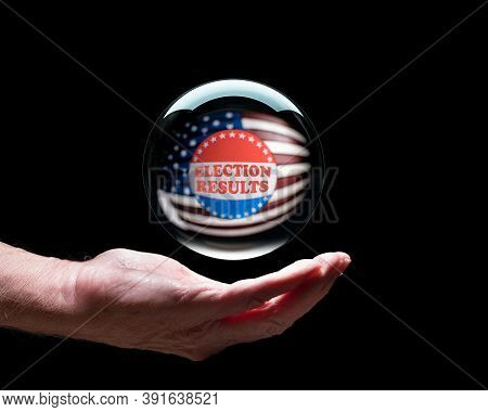 Senior Caucasian Hand With A Floating Crystal Futures Or Fortune Telling Ball With I Voted Sticker T