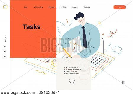Business Topics -tasks, Web Template, Header. Flat Style Modern Outlined Vector Concept Illustration