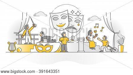 Theater Show Art Form With Acting Stage Actors Monocolor Outline Concept. Opera Or Drama Theatre Per