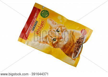 Lviv, Ukraine - September 22, 2020: Friskies Cat Food In The Package