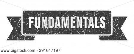 Fundamentals Grunge Vintage Retro Band. Fundamentals Ribbon
