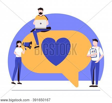 Vector Colorful Illustration Of Communication Via The Internet, Social Networking, Chat, Video, News