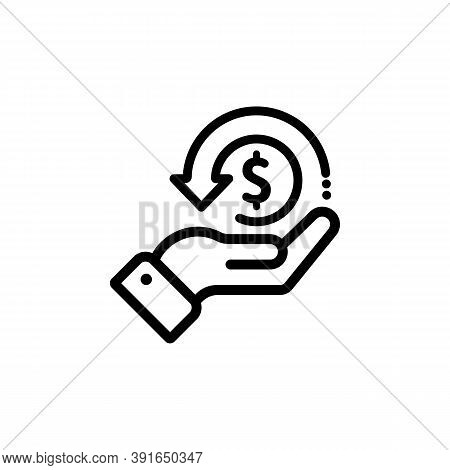 Cashback Icon, Return Money, Cash Back Rebate. Hand Hold Coin. E Commerce And Marketing. Vector On I