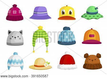 Baby Colorful Hats, Caps, Sunhat Set. Kids Headwears For Summer, Winter, Autumn. Childrens Headdress