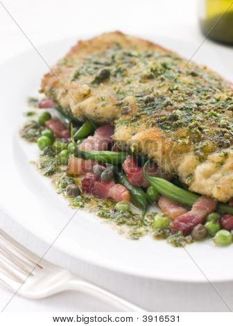 Cotoletta of Veal with Green Beans Peas and Pancetta poster