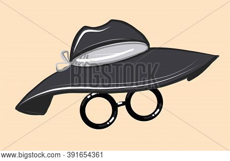 Accessory For The Face. Fashionable Black Women S Hat With A Wide Brim And Round Glasses. Vector On