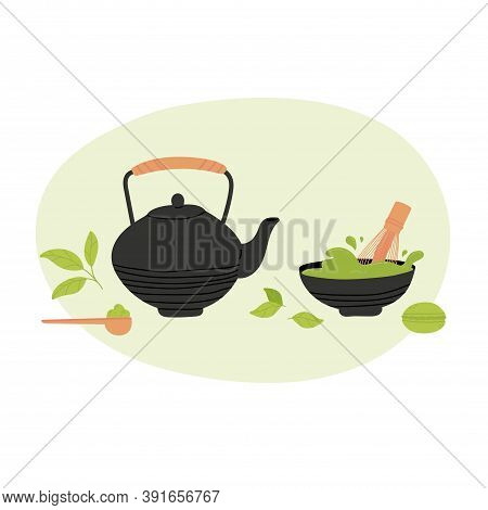 Matcha Tea Set Vector Illustration. Collection Objects Isolated On White. Hand Drawing Of Matcha Gre
