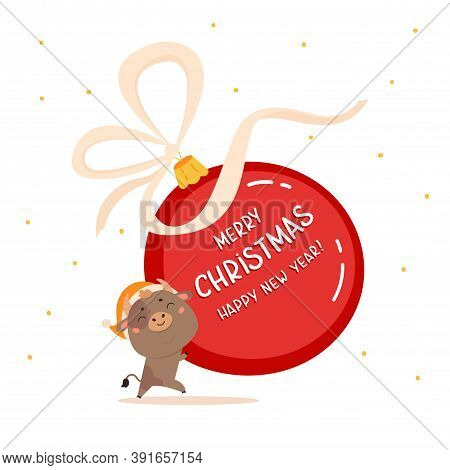 Christmas Sale Design Template.xmas Cute Ox With Giant Christmas Ball With Lettering.new Year Elemen