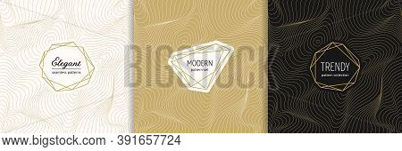 Vector Golden Seamless Pattern Collection With Modern Minimal Labels. Luxury Minimalist Linear Gold
