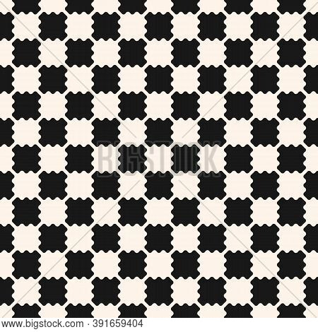 Black And White Checkered Texture. Vector Seamless Pattern With Simple Small Curved Shapes In Stagge