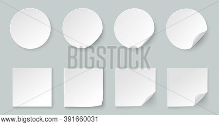 A Set Of Round And Square Stickers. White Paper Labels With Curved Edges For Business Promotion. Cur