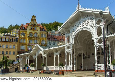 Karlovy Vary, Czech Republic-september 12, 2020. View Of Street With Colorful Facades In Czech Famou