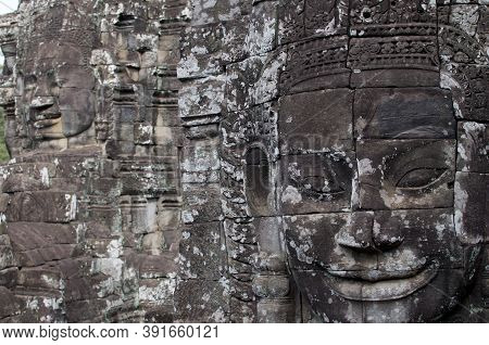 Close Up View Of A Smiling Stone Faces Of The Bayon Temple In Siem Reap, Cambodia
