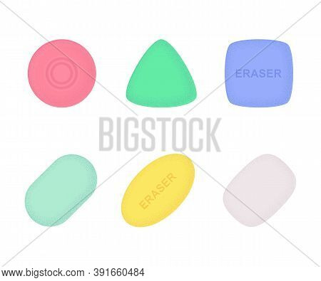 Erasers Of Various Shapes And Colors Set With Texture. School And Office Supplies Collection. Flat V