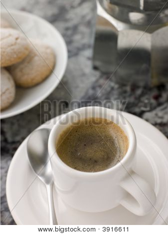 Cup Of Espresso Coffee With Amaretti Biscuit