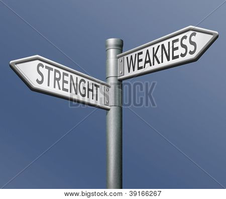 strength or weakness overcome them and analise potential roadsign with text