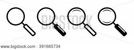 Magnifier Glass Icons. Isolated Loupe Collection On White Background. Magnifying Lens Tool To Explor