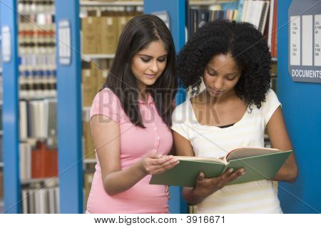 Two Women In Library Reading Book (Depth Of Field)