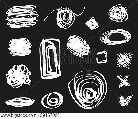Tangled Shapes. Hand Drawn Geometric Scrawls. Black And White Illustration
