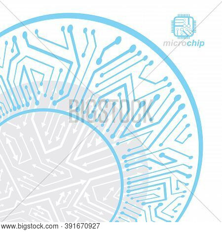 Vector Circuit Board, Digital Technologies Abstraction. Computer Microprocessor Scheme, Futuristic D
