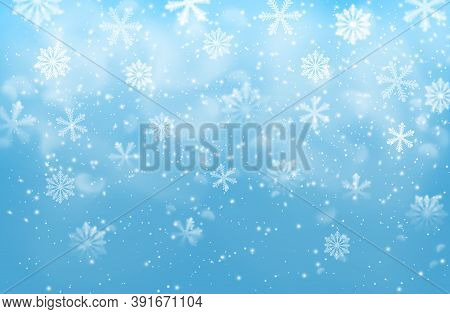 Realistic Snow Flakes On Blue Vector Background With Steam. Christmas Winter Holiday Falling Snow Pa