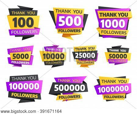 Labels Or Stickers For Followers Milestone, Vector Elements With Numbers And Typography For Internet