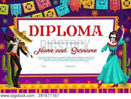 School Diploma Vector Template With Day Of The Dead Mexican Skeleton Playing Violin With Catrina Dan