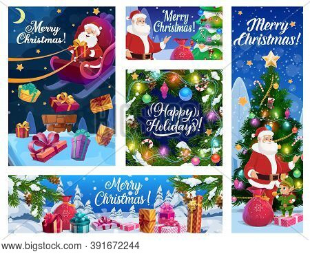 Christmas Tree, Santa And New Year Gifts Vector Banners Of Xmas Winter Holidays. Presents On Snow, C