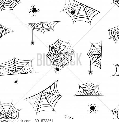 Halloween Vector Cobweb Seamless Pattern, Hanging Spider. Spider Web Background, Creepy Print For Ho