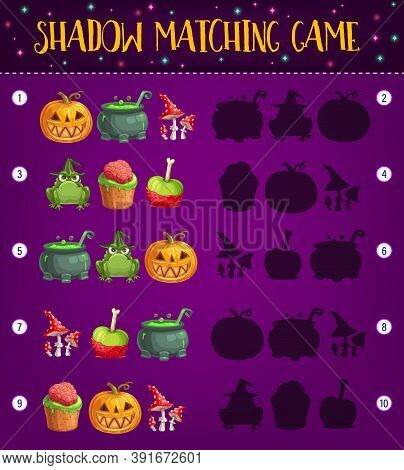 Halloween Shadow Matching Game Vector Template Of Kids Educational Activity Design. Preschool Childr