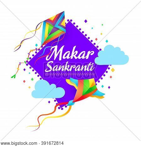 Makar Sankranti Indian Festival Vector Design With Flying Kites And Clouds. Hindu Religion Holiday F