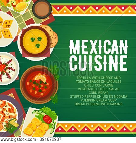 Mexican Food Menu Cuisine, Restaurant Dishes Meals, Vector Meat, Tortilla And Salsa Lunch. Mexican C