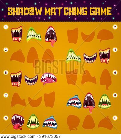 Halloween Monster Smiles, Shadow Matching Game Vector Template Of Kids Education Puzzle Design. Find