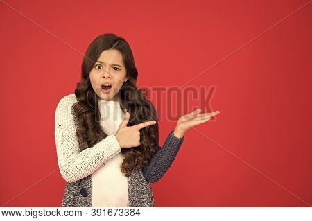 Publicity Stunt. Index Fingers Pointing. For Your Attention, Copy Space. Little Surprised Child Poin