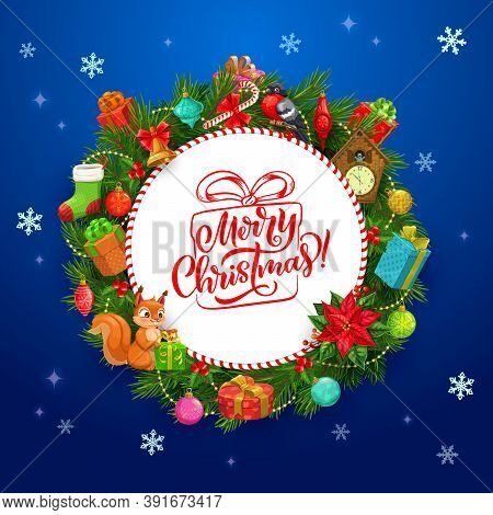 Merry Christmas Vector Greeting Card With Frame Of Xmas Wreath. Winter Holiday Gifts, Bell And Candy