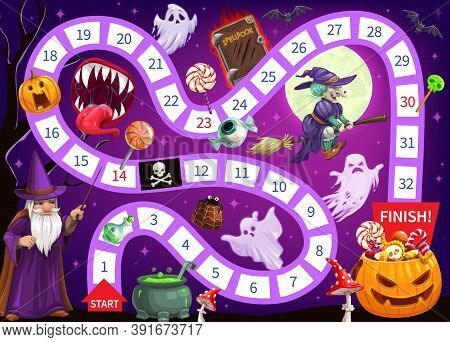 Halloween Start To Finish Children Board Game Vector Template. Cartoon Strategy Maze Or Puzzle Of Jo