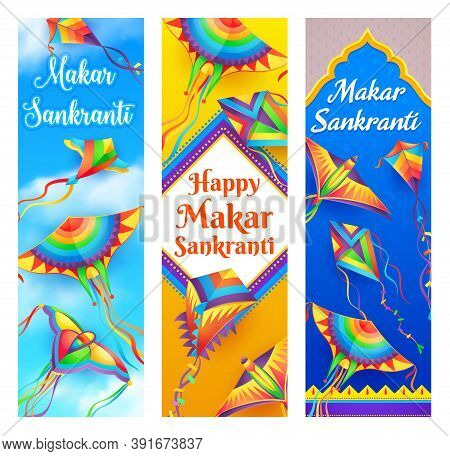 Makar Sankranti Kite Vector Banners Of Hindu Religion Indian And Nepal Festival. Butterfly And Bird
