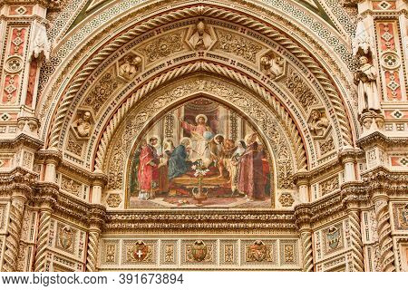 Cathedral of Santa Maria del Fiore acrhitecture detail Florence landmark of Tuscany Italy