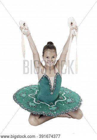 Talented Ballet Dancer. Kid Dress Ballet Skirt White Background Isolated. Child Practice Dancing. Gi