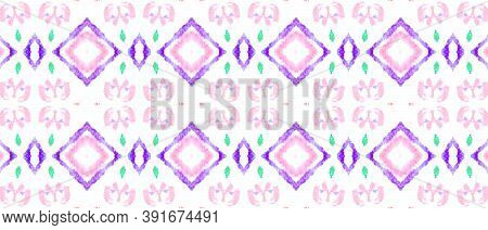 Folk Tribal Seamless Pattern. Pink, Purple And White Colors. Rough Abstract Craft Style. Artistic Et