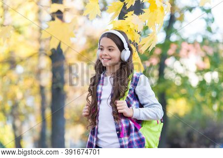Technology For Language Learning. Happy Child Wear Headphones Autumn Outdoors. Foreign Language Cour